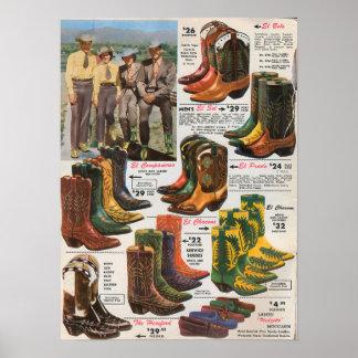 Los años 50 coloridos de las botas de vaquero póster