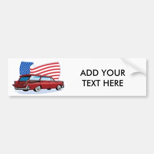 los años 50 diseñaron la furgoneta con la bandera  pegatina de parachoque