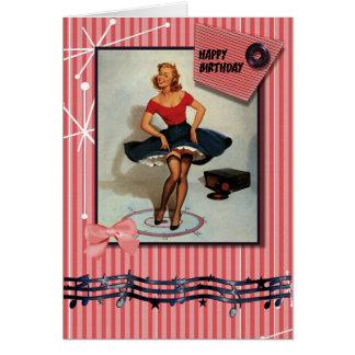los años 50 jiving el perno encima del chica tarjeton