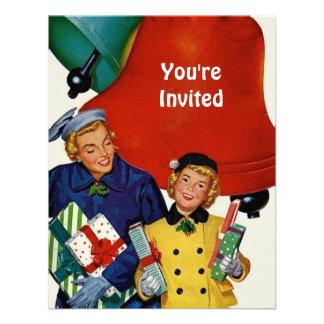 los años 50 mamá y compras de Navidad de la hija Invitacion Personalizada