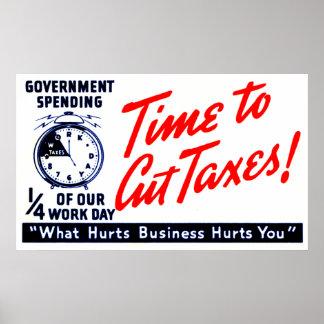 los años 50 miden el tiempo para cortar impuestos póster