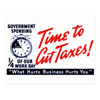 los años 50 miden el tiempo para cortar impuestos tarjeta postal