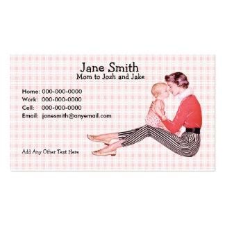 Los años 50 retros mamá y tarjeta del contacto del tarjetas de visita