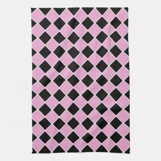 los años 50 rosados y teja negra toalla de mano