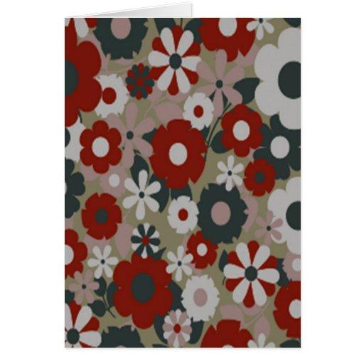 los años 60 florales tarjeta de felicitación