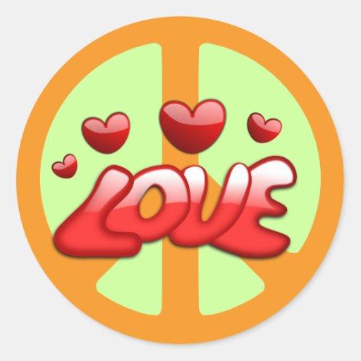 Los años 60: Pegatina de la paz y del amor