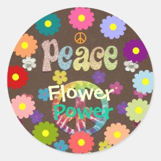 los años 60: Pegatina del flower power y de la paz