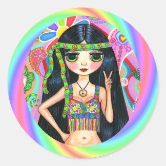los años 60, polluelo del Hippie del arco iris del Pegatinas Redondas