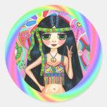 los años 60, polluelo del Hippie del arco iris del Pegatina Redonda