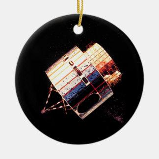 Los años 70 del vintage por satélite adorno navideño redondo de cerámica