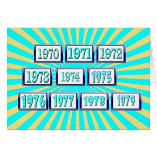 los años 70 tarjeta de felicitación