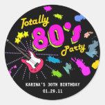 los años 80 van de fiesta alrededor de etiquetas pegatina redonda