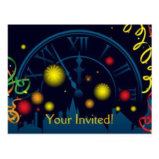Los Años Nuevos de fiesta invitan Tarjeta Postal