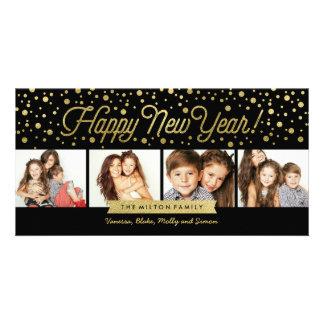 Los Años Nuevos de oro puntean la tarjeta 4-Photo Tarjetas Fotográficas Personalizadas