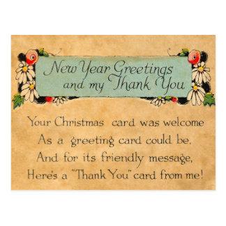 Los Años Nuevos del vintage y le agradecen Tarjetas Postales