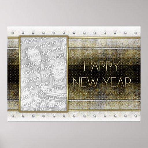 Los Años Nuevos - elegancia de oro - AÑADEN su fot Póster