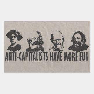 Los Anti-Capitalistas se divierten más - pegatinas Pegatina Rectangular