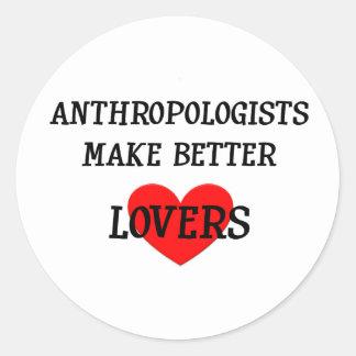 Los antropólogos hacen a mejores amantes pegatina redonda