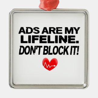 Los anuncios son cuerdas de salvamento adorno navideño cuadrado de metal