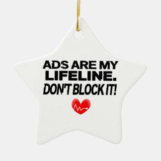 Los anuncios son cuerdas de salvamento adorno navideño de cerámica en forma de estrella