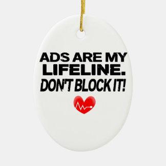 Los anuncios son cuerdas de salvamento adorno navideño ovalado de cerámica