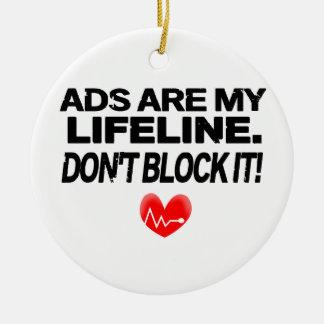 Los anuncios son cuerdas de salvamento adorno navideño redondo de cerámica