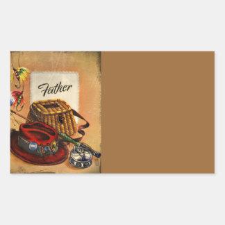 Los aparejos de pesca y el cebo del papá rectangular pegatina