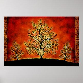 Los árboles con los laberintos póster