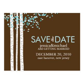 Los árboles de abedul ahorran el boda de la fecha tarjetas postales