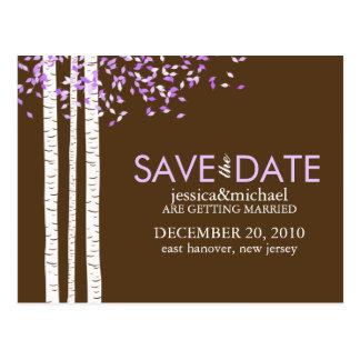 Los árboles de abedul ahorran el boda de la fecha postales