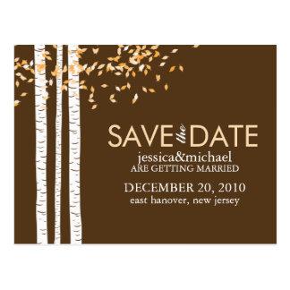 Los árboles de abedul ahorran el boda de la fecha tarjeta postal