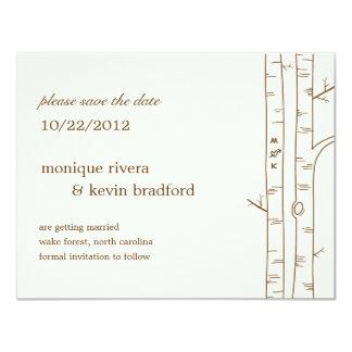 Los árboles de abedul ahorran la invitación de la invitación 10,8 x 13,9 cm