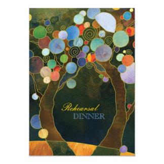 Los árboles de amor en cena azul del ensayo del invitación 12,7 x 17,8 cm