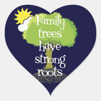 Los árboles de familia tienen pegatinas fuertes de pegatina corazón personalizadas