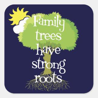 Los árboles de familia tienen pegatinas fuertes de pegatina cuadrada