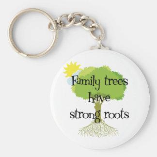 Los árboles de familia tienen raíces fuertes llavero redondo tipo pin