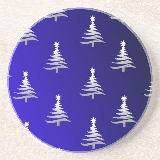 Los árboles de navidad se platean en azul de cobal posavasos personalizados