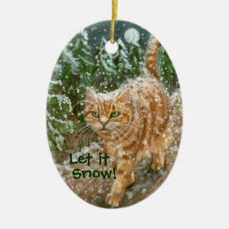 Los árboles del gato lo dejaron nevar ornamento adorno navideño ovalado de cerámica