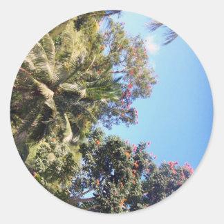 Los árboles pegatina redonda