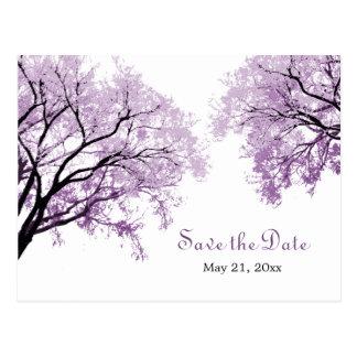 Los árboles púrpuras en colores pastel - ahorre la tarjeta postal