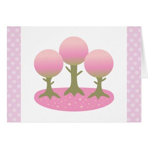 Los árboles redondos de la flor de cerezo le agrad tarjeton