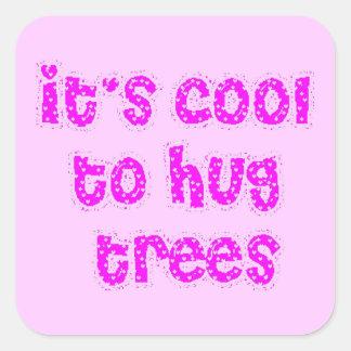 los árboles respetuosos del medio ambiente pegatina cuadrada