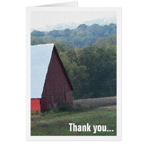 Los árboles rojos del otoño del granero le tarjeta de felicitación