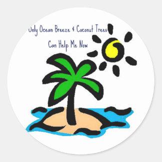 Los árboles solamente del océano de la brisa y de pegatina redonda