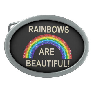 Los arco iris de la hebilla del cinturón son brill hebillas de cinturon ovales