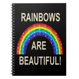 Los arco iris del cuaderno son brillo hermoso