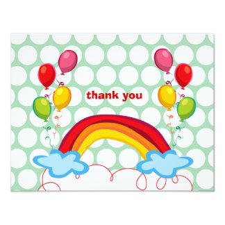Los arco iris y los niños de los globos le invitación 10,8 x 13,9 cm