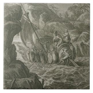 Los argonautas pasan el Symplegades (el grabado) Azulejo Cuadrado Grande