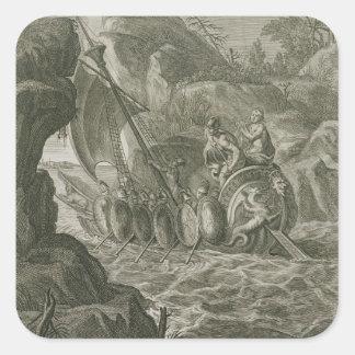 Los argonautas pasan el Symplegades (el grabado) Pegatina Cuadrada