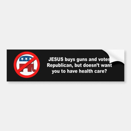 Los armas de las compras de Jesús pero no quisiera Etiqueta De Parachoque